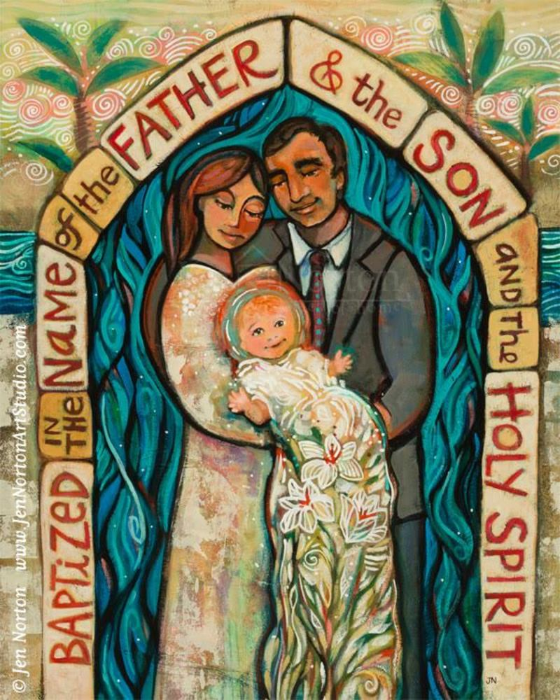 Acrylic on paper painting of a family with a child baptized in Catholic Christian tradition.